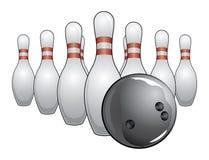 Bowlingspiel-Kugel und Stifte Stockfotografie
