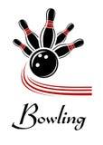 Bowlingspiel trägt Symbol zur Schau Stockfoto