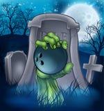 Bowlingspiel-Zombie-Halloween-Friedhofs-Konzept Lizenzfreie Stockfotografie