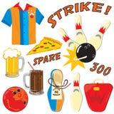 Bowlingspielikonen und -elemente Lizenzfreie Stockfotografie