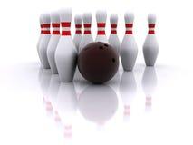 Bowlingspielkugel und -stifte Stockfotografie