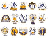 Bowlingspiellogovektorwerfer-Sportspiel mit Gassen- oder Bowlingkugelkegeln und Streik auf Turnier oder Liga in der Schüssel Lizenzfreie Stockbilder