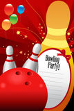Bowlingspielpartei-Einladungsschablone Lizenzfreie Stockfotos