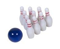 BowlingspielPin und Kugel Lizenzfreies Stockfoto