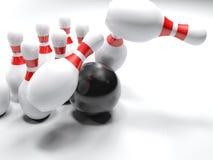 Bowlingspielschüssel, welche die Stifte - Wiedergabe 3D schlägt Lizenzfreies Stockfoto