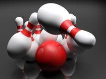 Bowlingspielschüssel, welche die Stifte - Wiedergabe 3D schlägt Lizenzfreie Stockbilder