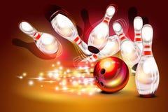 Bowlingspielspielstreik über dunkelrotem Hintergrund Stockbild