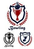 Bowlingspielsportembleme und -ikonen Lizenzfreie Stockfotos