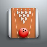 Bowlingspielstift- und -ballikonensymbol Stockbild