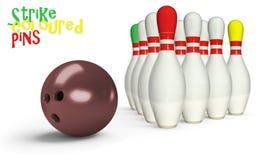 Bowlingspielstifte gefärbt Lizenzfreie Stockbilder