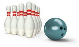 Bowlingspielstifte mit Ball Lizenzfreie Stockfotos