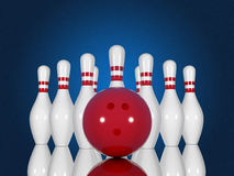 Bowlingspielstifte und -ball auf einem blauen Hintergrund Lizenzfreie Stockfotografie
