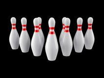 Bowlingspielstifte vom schwarzen Hintergrund Wiedergabe 3d Stockfotos