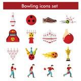 Bowlingsymbolsuppsättning i plan stil Royaltyfri Foto