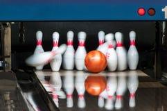 Bowlng pins strike Royalty Free Stock Images