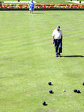 Bowls. Two Seniors enjoying a game of Bowls on a sunny day Stock Images