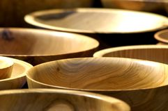 Bowls. Wooden bowls shallow depth of field Stock Photography