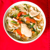 Bowls of Asian soup noodles Stock Photography