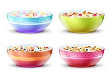 Bowls of breakfast with different milk cereal snacks. Vector set. Breakfast food milk and muesli in bowl illustration Royalty Free Stock Photo