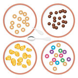 Bowls with breakfast wholegrain cereal in milk, vector. Top view set of bowls with breakfast wholegrain cereal in milk for kids, vector Royalty Free Stock Photos