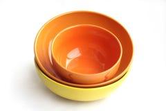 Bowls ceramic. Three bright  Horizontal photo Stock Images