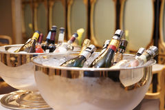 Bowls with champagne Royalty Free Stock Photos