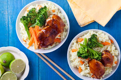 Bowls Of Chicken And Vegetables Royalty Free Stock Image