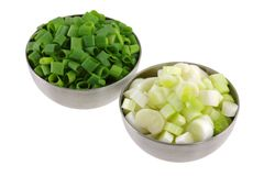 Bowls of Chopped Spring Onion Stock Images