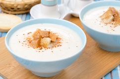 Bowls of cold cauliflower soup with cottage cheese, horizontal Stock Photography