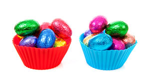 Bowls with colorful easter eggs Royalty Free Stock Photo