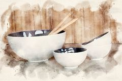 White bowl and cups on kitchen countertop. Bowls and cups with wooden spoons on kichen counter in watercolors stock illustration