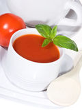Bowls of delicious tomato soup Stock Images