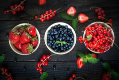 Bowls with different berries Stock Images