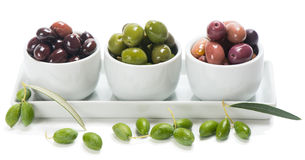 Bowls with different olives Royalty Free Stock Photo