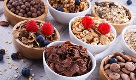 Bowls with different sorts of breakfast cereal products. Bowls containing different sorts of breakfast cereal products stock image