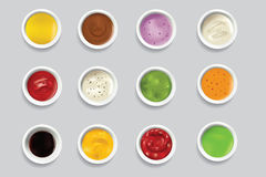 Bowls dip bowl sauces gravy dressing top view spicy food ingredient condiment delicious flavor seasoning spice vector. Bowls of various dip bowl sauces gravy Royalty Free Stock Images
