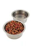 Bowls of dogfood and water Stock Photos