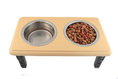 Bowls of dogfood and water royalty free stock image