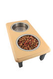 Bowls of dogfood and water Royalty Free Stock Images