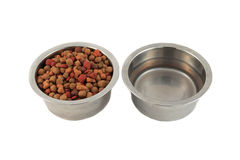 Bowls of dogfood and water royalty free stock photography