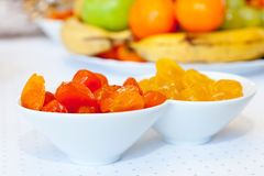 Bowls of dried apricots Royalty Free Stock Photos