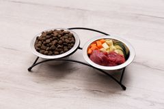 Bowls with dry and natural dog food stock images