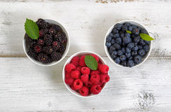 Bowls filled with freshly picked berries on rustic white wooden Royalty Free Stock Image