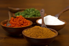 Bowls filled with Spices - cumin Stock Image