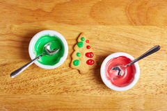 Bowls with food icing Stock Images