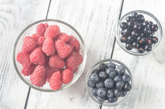 Bowls of fresh berries Stock Photos
