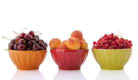 Bowls with fresh fruit Stock Photo