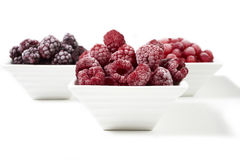 Bowls with frozen berries on white background Stock Image