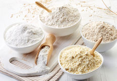 Bowls of gluten free flour stock photography