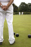 Bowls Green White trousers. White trousers as Subject on Bowls green Stock Photo